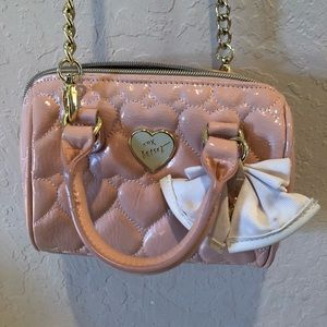 Betsey Johnson Pink Patent Hearts Crossbody Purse
